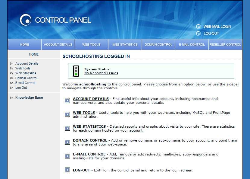 Control Panel Account details