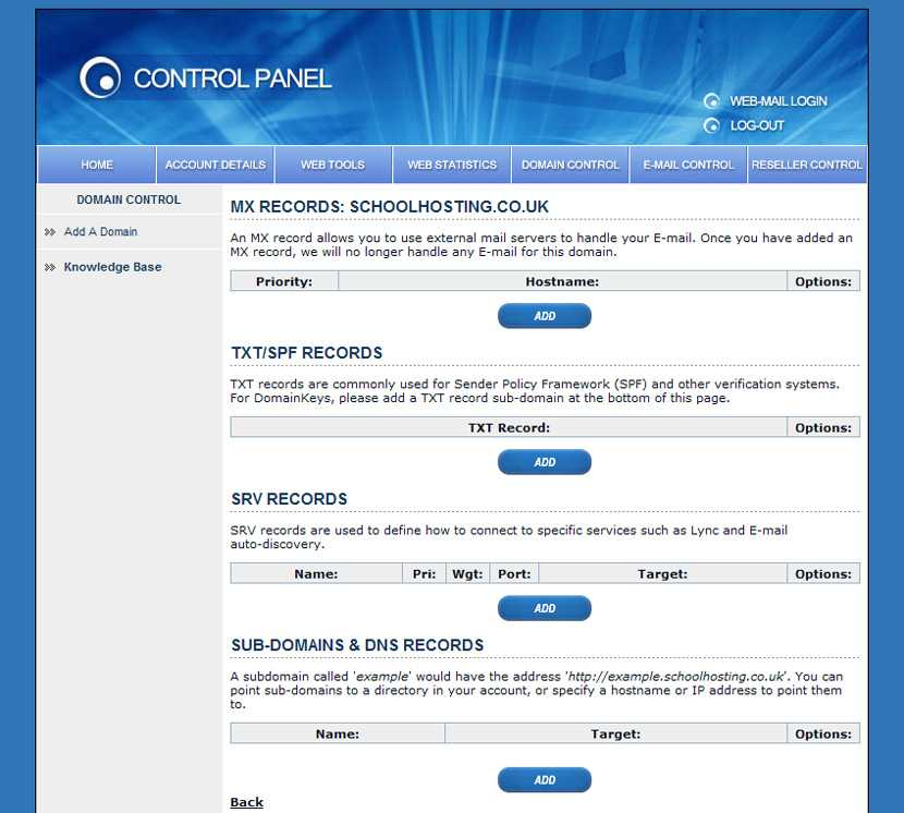 Control Panel Domain Control